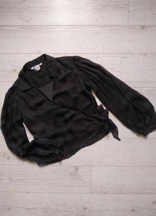 Блуза в горошек на запах из натурального шелка р.10-12