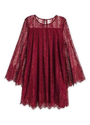 Кружевное платье мини h&m размер s