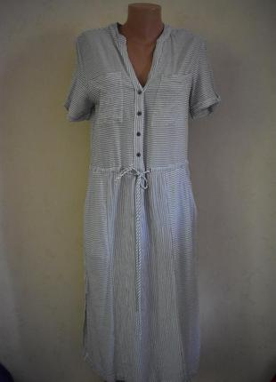 Натуральное платье-рубашка в полоску next