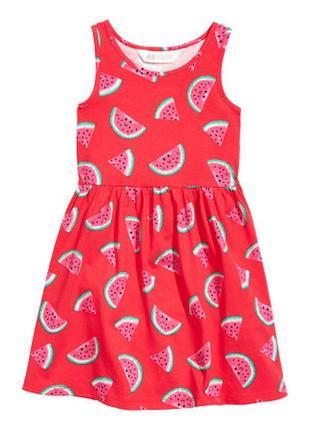 Платье н&м для девочек с арбузом на 6-8 лет