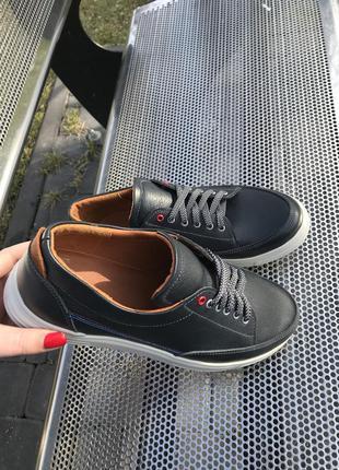 Мужские кожаные  кеды туфли