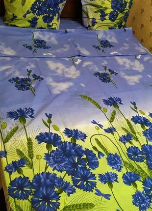 """Двухспальный комплект постельного белья из бязи голд""""васильки"""""""