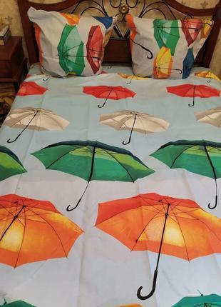 """Двухспальный комплект постельного белья из бязи голд """"зонтики"""""""