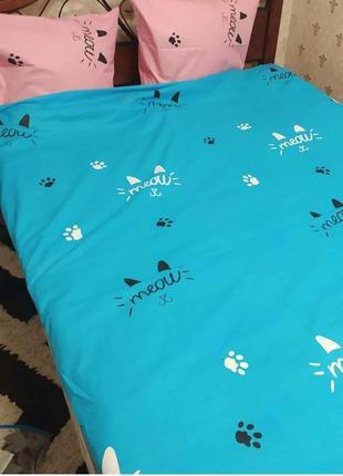 """Двухспальный комплект постельного белья из бязи голд""""мяу мяу"""""""