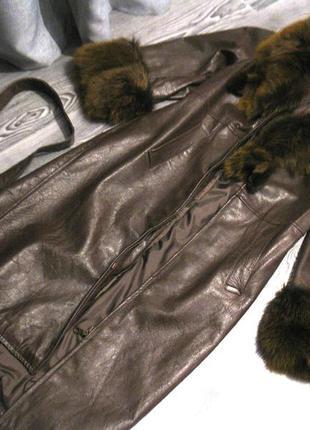 Кожаный плащ с мехом лисы (продаю на материалы)