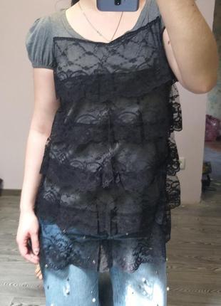Блуза - туника с кружевными воланами / ликвидация вещей скидки