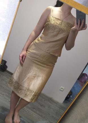 Нарядный шелковый золотой костюм (топ и юбка). распродажа всей...