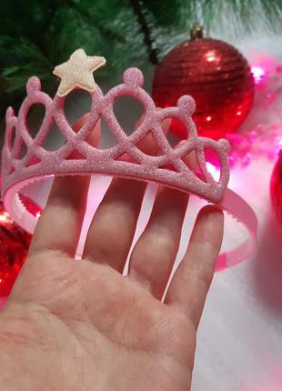 Розовая сияющая корона обруч ободок / новогодний праздничный а...