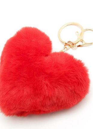 Плюшевые пушистые валентинки сердечко брелок подвеска