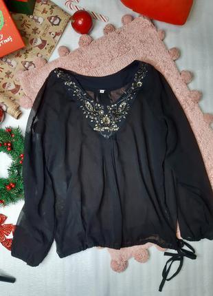 Прозрачная шифоновая блуза туника с красивым декольте / ликвид...