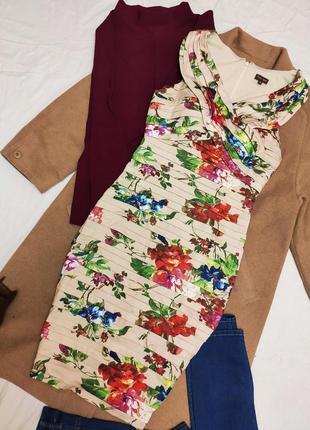 Платье футляр карандаш миди бандажное многослойное цветочный п...