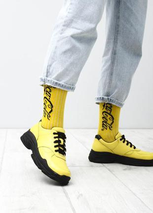Желтые женские кожаные кроссовки туфли на шнурках женские нату...