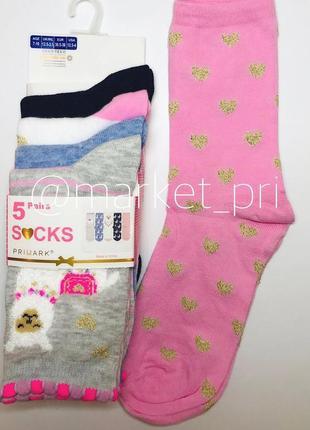 Носки упаковка 5 шт детские (2- 12 лет) primark для девочек