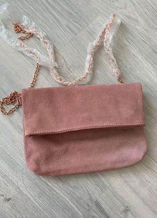 замшевый клатч сумка