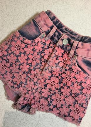 Шорты джинсовые с кружевом topshop размер xs