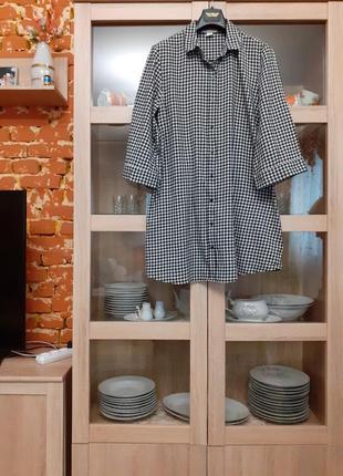 Очень стильное котоновое платье рубашка туника большого размера