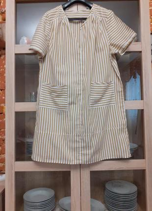 Суперовое котоновое с карманами платье рубашка большого размера