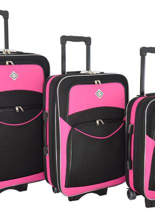 Чемодан сумка дорожный Bonro Style набор 3 штуки черно-розовый