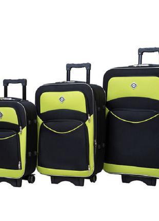 Чемодан сумка дорожный Bonro Style набор 3 штуки черно-салатовый