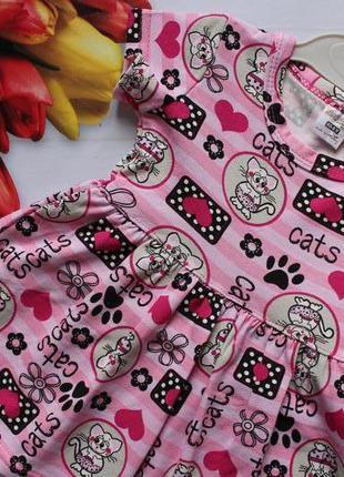 Трикотажное платье на девочку котики /сукня, сарафан 80-104
