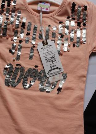 Комплект на девочку пайетка/ дівчинка літо футболка + шорти 1-...