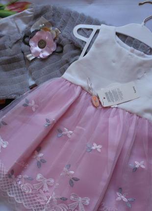 Платье нарядное фатин с шубкой / набір сукня дівчинка святкова...