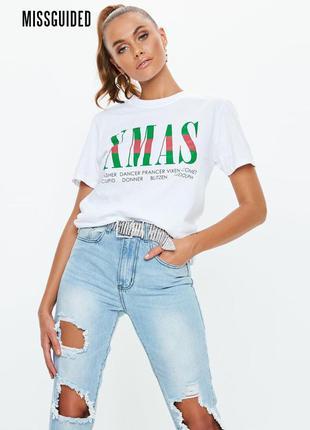 Новая белая свободная футболка x-mas missguided