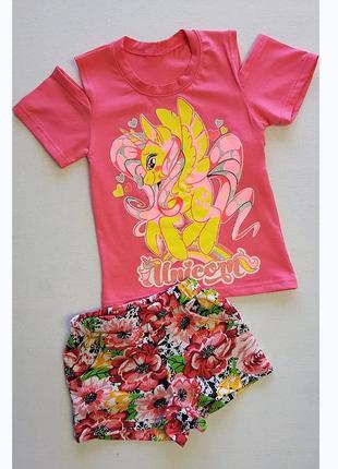 Костюмы для девочек летние, футболка и шорты 5052