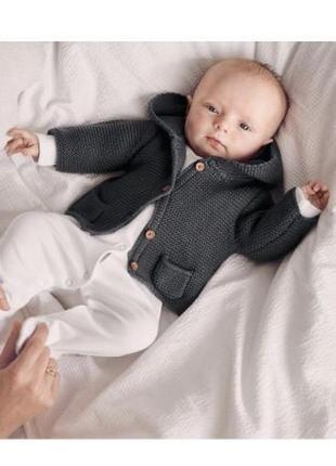 Детский вязаный кардиган худи с капюшоном next хлопок