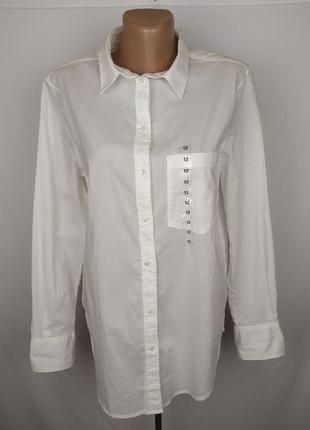 Блуза рубашка айвори хлопковая оригинальная h&m uk 12/40/m