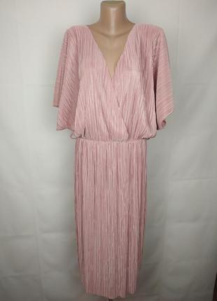 Платье новое кремовое стильное на запах гофре большой размер b...