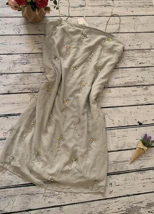 Нарядное платье сарафан asos с бисером пайетками камнями