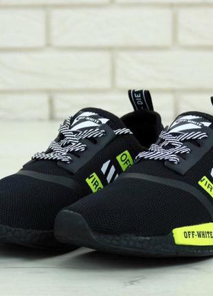 Мужские кроссовки off-white x adidas nmd r1 black white green