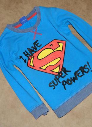 Кофта детская голубая супермен на мальчика 4-5 лет george
