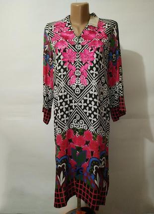 Платье легкое новое стильное в орнамент с вышивкой uk 8/36/xs