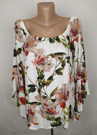 Блуза стильная цветочная вискоза штапель uk 16/44/xl