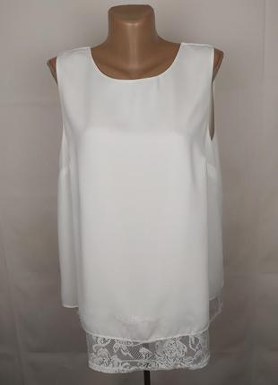 Блуза новая белая шикарная кружево бант f&f uk 16/44/xl