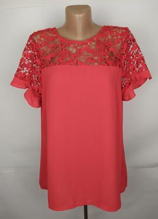 Блуза шикарная с кружевной кокеткой uk 16/44/xl