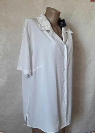 Новая с биркой белоснежная базовая блуза с украшеным воротнико...