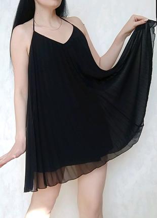 Чёрное платье ПЛИССЕ свободного покроя