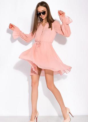 Легкое шифоновое платье пудрового цвета