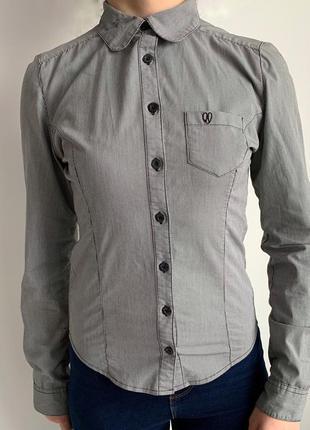 Рубашка в дрібну клітинку, чорна з сірим, рубашка.