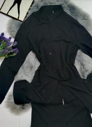 Черная рубашка платье с разрезами по бокам chicoree на пуговиц...