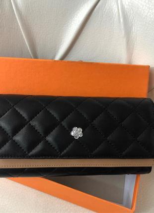Женский кожаный кошелёк чёрный