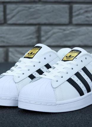 Мужские кроссовки adidas superstar ll white black gold