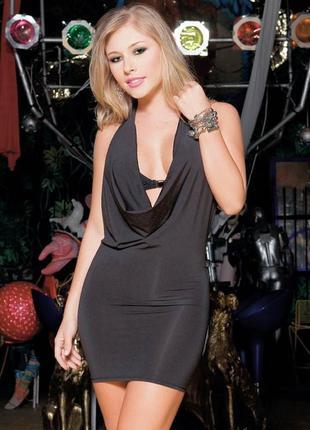 Облегающее вечернее / нарядное чёрное платье мини с открытой спин