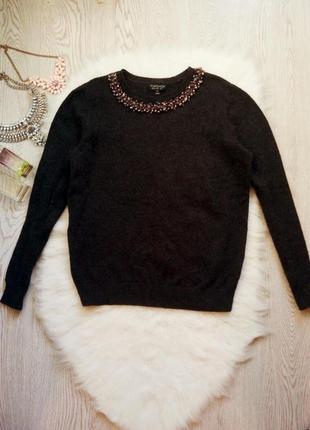 Серый свитер с шерстью ангора стразами камнями на воротнике ко...