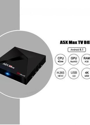 A5X MAX 4/32Гб 4 ядра Android 8 Смарт ТВ бокс. Настроен+мышь в...