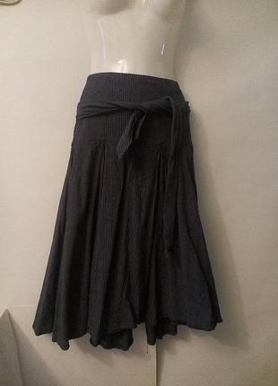 Лен юбка миди в склаку