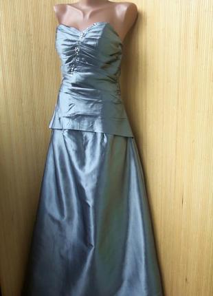 Атласное вечернее/ выпускное длинное нарядное серебристое платье